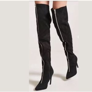 Forever 21 Shoes - Zip zipper front thigh high boots faux suede